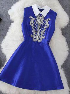 Beaded Dress In Blue