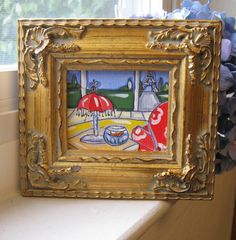 Beautiful original pen and ink and acrylic mini painting in frame  #art #framed #original #gift