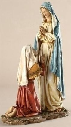 Our Lady Of Lourdes Blessed Virgin Mary With Bernadette Catholic Statue Figure