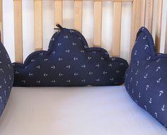 Crib bumper, cradle bumper, baby cot bumpe, head bumper- Clouds - navy & anchor, new born present