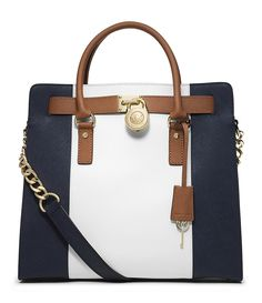 MICHAEL Michael Kors Large Hamilton Center Stripe Tote in Navy Blue, White,  \u0026 Luggage