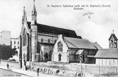 Picture of / about 'Brisbane' Queensland - St. Stephen's Cathedral and 'old' St. Stephen's Church, from Elizabeth Street, Brisbane Brisbane Queensland, Brisbane City, Aussie Australia, Western Australia, Elizabeth Street, Old Churches, Tasmania, Old Pictures, Cathedral