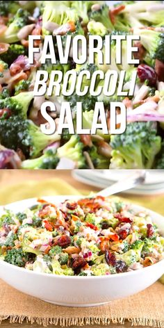 Broccoli Salad is made with bits of salty bacon, tangy red onion, sweet craisins and crunchy sunflower seeds. Perfect for potlucks and so delicious!This Broccoli Salad is made with bits of salty bacon, tangy red onion, sweet craisins and crunchy sunflower Healthy Broccoli Salad, Healthy Salads, Healthy Eating, Healthy Recipes, Healthy Potluck, Broccoli Slaw, Amish Broccoli Salad, Brocolli Salad, Bacon Recipes