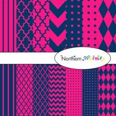 Digital Scrapbooking Set – Navy Blue  Hot Pink paper in stripes, chevron, polka dot, stripe, harlequin, and quatrefoil INSTANT DOWNLOAD