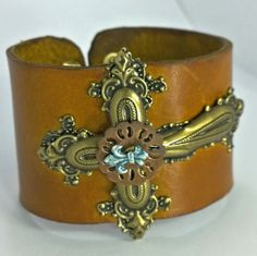 Genuine Leather Cuff Bracelet with Metal Cross and by mistydlee, $20.00