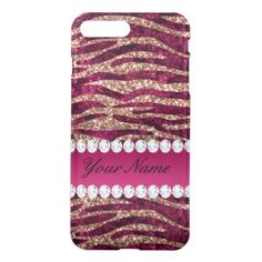 Hot Pink Faux Foil Zebra Stripes Rose Gold iPhone 7 Plus Case - trendy gifts cool gift ideas customize