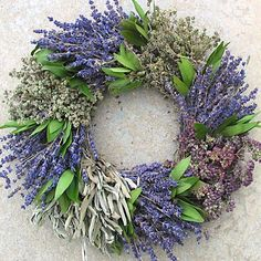 French Herb Wreath made with fragrant lavender, marjoram, sage, purple oregano, thyme, and bay; by Creekside Farms.