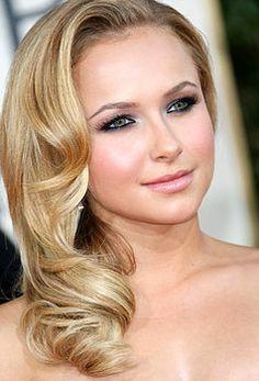 Hayden Panettiere's Elegant Makeup: Nude/Brown/White Eyeshadow, Black Eyeliner on Upper and Lower Lash Line, Two Coats of Mascara, Defined Brows, Pink Blush, and Glossy Pink Lips.
