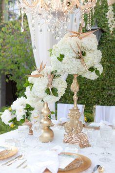 Gilded gold leaf birds of paradise garden wedding Bronze Wedding, Gold Wedding, Floral Wedding, Wedding Flowers, Wedding White, Chic Wedding, Elegant Wedding, Dream Wedding, Wedding Day