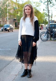 this mix of DIY chiffon and knit is lovely