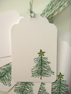 Christmas Gift Tags, Little Christmas Tree with Gold Star. $4.95, via Etsy.