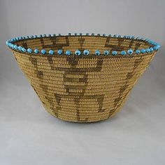 Pre-1920 Antique Pima Basket with Lizards and turquoise ... | Basket ...