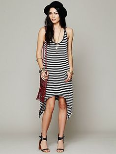 Curved Hem Stripe Tunic