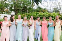 Pastel Bridesmaid Dresses // A Colorful Jamaica Destination Wedding via TheELD.com Pastel Bridesmaid Dresses, Wedding Dresses, Jamaica Destinations, Destination Wedding Jamaica, Colorful Weddings, Wedding Colors, Detail, Fashion, Bride Dresses