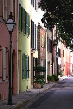 Charleston, SC. this row of homes (all attached to one another, is called Rainbow Row. More beautiful in person...