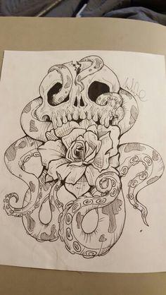 Skull,rose, octopus original tattoo design