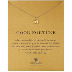 Dogeared Good Fortune Cookie Reminder Necklace ($58) ❤ liked on Polyvore featuring jewelry, necklaces, charm chain necklace, chain bracelet, charm pendant necklace, chain pendant and charm bracelet jewelry