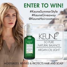 Visit our Facebook page for your chance to win a bottle of our NEW So Pure Argan Oil Light! #KeuneGiveaway #KeuneSummerStylel Light! @KeuneHaircosmetics