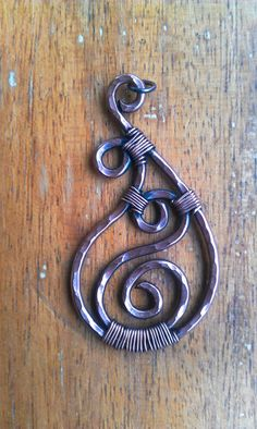 Paisley Copper Wire Wrapped Pendant on Fabric Cord with by dArgent, $18.00