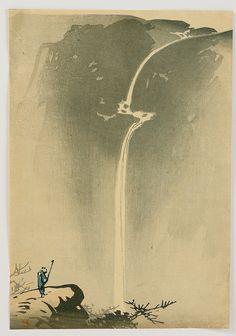 "beifongkendo: "" Mountain waterfall, by Yamamoto Shunkyo (1900). """