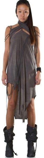 Demobaza Gray Crossed Neck Zipped Cotton Jersey Dress