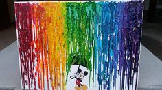 Check out this item in my Etsy shop https://www.etsy.com/listing/214748732/mickey-mouse-rain-melted-crayon-art