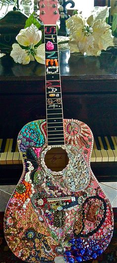 Custom acoustic guitar. Filled with little treasures and finds. - Natalie Sarabella