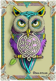 .Owl Art with Celtic Knots