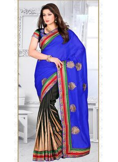 Blue Georgette Half N Half Saree With Zari Work