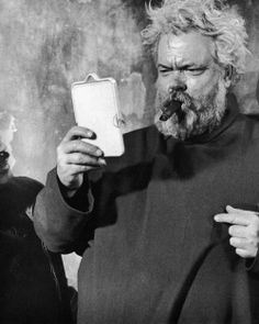 Orson Welles on the Chimes of Midnight set