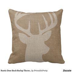 Rustic Deer Buck Burlap Throw Pillows