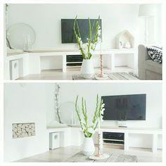 tv-meubel van gasbetonblokken, stucen en vloerdelen erop @ suusvvelzen Home And Living, Living Room, Rv Homes, New York Loft, Home Salon, Happy House, Hamptons House, Decor Interior Design, Interior Inspiration