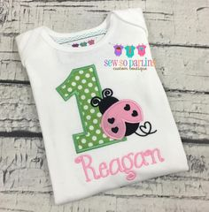 e437eab7f 1st Birthday Lady bug Shirt - Baby Girl 1st Birthday Outfit - pink and  green Ladybug Birthday Outfit - lady bug birthday shirt - Any age