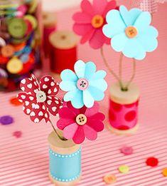 Flores de cartulina y botones - Especial Día de la Madre - Especiales - Charhadas.com