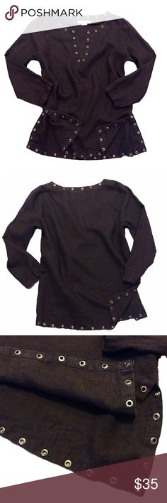 """Michael Kors Brown Linen Grommet SZ L Blouse Rare beautiful 3/4 sleeve """"Michael Kors"""" brown 100% linen embellished with copper grommets size large v-neck top blouse Michael Kors Tops Blouses"""