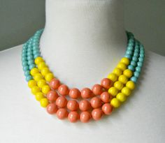 Items similar to Color Block Triple Decker Necklace – in Paradise Mix – 3 Strand Colored Pearl Necklace on Etsy – takı – Decke Diy Jewelry Rings, Bead Jewellery, Jewelry Crafts, Jewelery, Jewelry Necklaces, Beaded Bracelets, Pearl Necklaces, Geek Jewelry, Diy Necklace