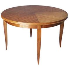French Art Deco Walnut Round Table | From a unique collection of antique and modern center tables at https://www.1stdibs.com/furniture/tables/center-tables/