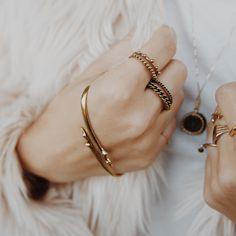 Frozen Chain Ring Set- Gold | Luv Aj