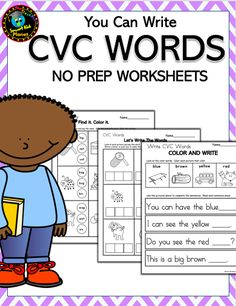 No Prep CVC Word Worksheets for KindergartenThere are 21 No Prep printable worksheets in this download that provide practice reading and writing CVC words.   There… Kindergarten Language Arts, Homeschool Kindergarten, Kindergarten Worksheets, Homeschooling, Writing Worksheets, Printable Worksheets, Cvc Words, Reading Workshop, Teaching