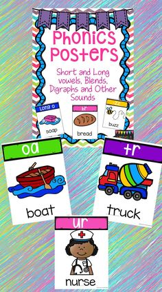 100 colorful posters. Included are short vowels, long vowels, blends, digraphs and other sounds. These posters are full sized but, you can set your printer to print 2 or 4 on a page for smaller posters.   Sounds included: a,e,i,o,u short and long sounds, oe, oa, ee, ea, ay ,ai, y as I, y as e, y as y, ie, sh, -sh, ch, -ch, bl, cl, fl, gl, pl, sl, br, cr, dr, fr, gr, pr, tr, wr,  sp, sc, sn, sm, sk, sw, tw, -ck, -sk, -st, -lt, -ld, -pt, -lf -rd, -rn, -rt, -rm, -mb, -lb, lm, ll, ss, ff, tt…