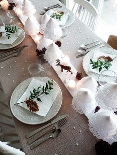 Christmas place setting, branch and leaf place card