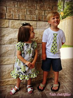 Matching Brother / Sister Outfits  Ruffle by FaithAndGlitter, $42.00