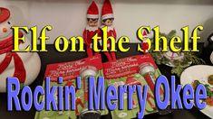 Elf on the Shelf - Rockin' Merry Okee The Elf, Elf On The Shelf, Shelf Ideas, Merry, Shelves, Holiday Decor, Shelving, Shelving Ideas, Platter Ideas