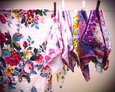 Wonderful floral vintage Fabric and hankies...