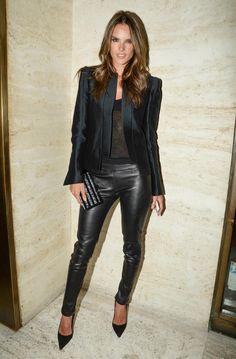 Holy Grail: Alessandra Ambrosio wearing J BRAND Leather Leggings. #FallforJBRAND
