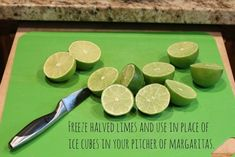 Replace ice cubes with frozen limes or lemons. | 20 Foolproof Hacks For Throwing The Perfect Dinner Party