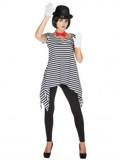 Tunic pantomime women black / white for carnival & carnival Tinkerbell Kostüm Diy, Diy Costumes, Costumes For Women, Clown Clothes, Circus Costume, White Tunic, Halloween Outfits, Trendy Outfits, Carnival