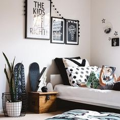 @hailsandshine moving into monochrome and creating room envy for all #kidsspace #regram - spotted our #Downtothewoods Wire basket with Snake plant