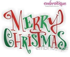 Merry Christmas - 3 Sizes!   Christmas   Machine Embroidery Designs   SWAKembroidery.com Embroitique