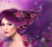 Fantasy woman with purple flowers by Alena Lazareva